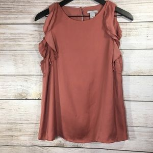 H&M Women's Coral Ruffle Sleeveless Blouse Top